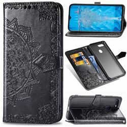 Embossing Imprint Mandala Flower Leather Wallet Case for Oppo F9 (F9 Pro) - Black