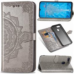 Embossing Imprint Mandala Flower Leather Wallet Case for Oppo F9 (F9 Pro) - Gray