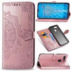 Embossing Imprint Mandala Flower Leather Wallet Case for Oppo F9 (F9 Pro) - Rose Gold
