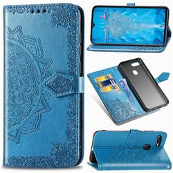 Embossing Imprint Mandala Flower Leather Wallet Case for Oppo F9 (F9 Pro) - Blue