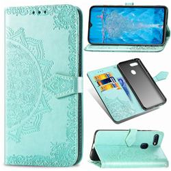 Embossing Imprint Mandala Flower Leather Wallet Case for Oppo F9 (F9 Pro) - Green