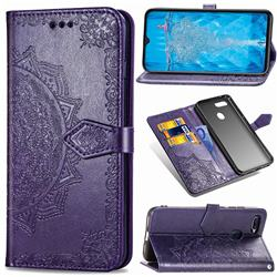 Embossing Imprint Mandala Flower Leather Wallet Case for Oppo F9 (F9 Pro) - Purple