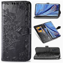 Embossing Imprint Mandala Flower Leather Wallet Case for Oppo Find X2 - Black