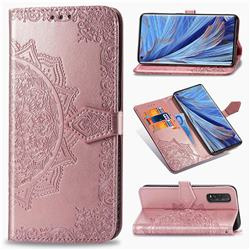 Embossing Imprint Mandala Flower Leather Wallet Case for Oppo Find X2 - Rose Gold