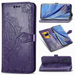 Embossing Imprint Mandala Flower Leather Wallet Case for Oppo Find X2 - Purple