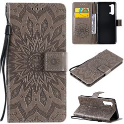 Embossing Sunflower Leather Wallet Case for Oppo Find X2 Lite - Gray