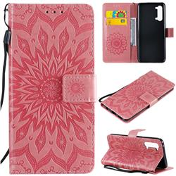 Embossing Sunflower Leather Wallet Case for Oppo Find X2 Lite - Pink