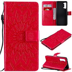 Embossing Sunflower Leather Wallet Case for Oppo Find X2 Lite - Red