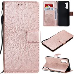 Embossing Sunflower Leather Wallet Case for Oppo Find X2 Lite - Rose Gold