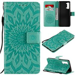 Embossing Sunflower Leather Wallet Case for Oppo Find X2 Lite - Green