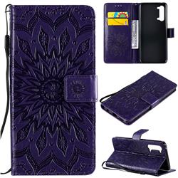 Embossing Sunflower Leather Wallet Case for Oppo Find X2 Lite - Purple