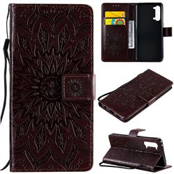 Embossing Sunflower Leather Wallet Case for Oppo Find X2 Lite - Brown