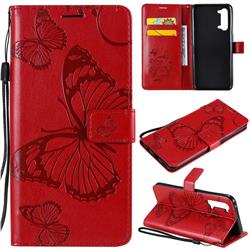 Embossing 3D Butterfly Leather Wallet Case for Oppo Find X2 Lite - Red