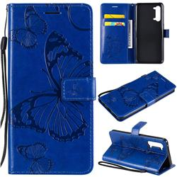 Embossing 3D Butterfly Leather Wallet Case for Oppo Find X2 Lite - Blue