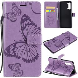 Embossing 3D Butterfly Leather Wallet Case for Oppo Find X2 Lite - Purple
