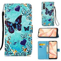 Love Butterfly Matte Leather Wallet Phone Case for Oppo Find X2 Lite