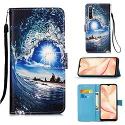 Waves and Sun Matte Leather Wallet Phone Case for Oppo Find X2 Lite