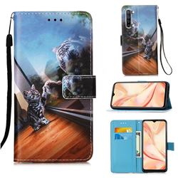 Mirror Cat Matte Leather Wallet Phone Case for Oppo Find X2 Lite