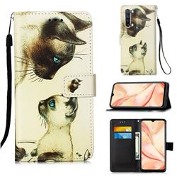Cat Confrontation Matte Leather Wallet Phone Case for Oppo Find X2 Lite