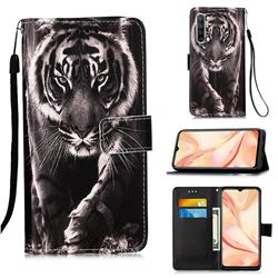 Black and White Tiger Matte Leather Wallet Phone Case for Oppo Find X2 Lite