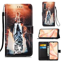 Cat and Tiger Matte Leather Wallet Phone Case for Oppo Find X2 Lite