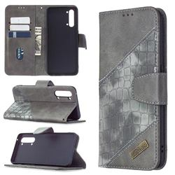 BinfenColor BF04 Color Block Stitching Crocodile Leather Case Cover for Oppo Find X2 Lite - Gray