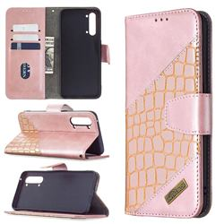 BinfenColor BF04 Color Block Stitching Crocodile Leather Case Cover for Oppo Find X2 Lite - Rose Gold