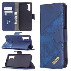 BinfenColor BF04 Color Block Stitching Crocodile Leather Case Cover for Oppo Find X2 Lite - Blue