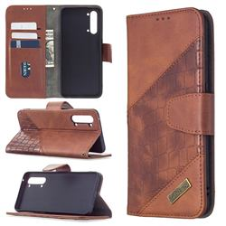 BinfenColor BF04 Color Block Stitching Crocodile Leather Case Cover for Oppo Find X2 Lite - Brown