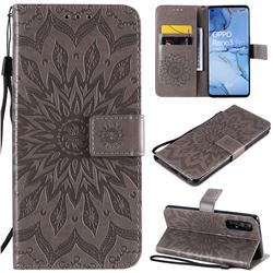 Embossing Sunflower Leather Wallet Case for Oppo Find X2 Neo - Gray