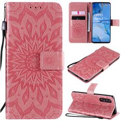 Embossing Sunflower Leather Wallet Case for Oppo Find X2 Neo - Pink