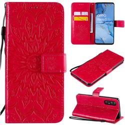 Embossing Sunflower Leather Wallet Case for Oppo Find X2 Neo - Red