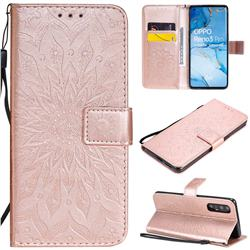 Embossing Sunflower Leather Wallet Case for Oppo Find X2 Neo - Rose Gold