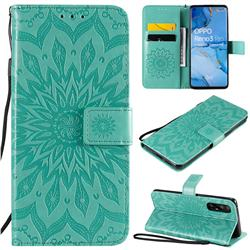 Embossing Sunflower Leather Wallet Case for Oppo Find X2 Neo - Green