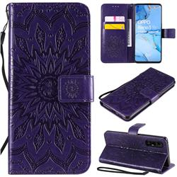 Embossing Sunflower Leather Wallet Case for Oppo Find X2 Neo - Purple