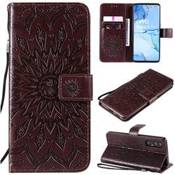 Embossing Sunflower Leather Wallet Case for Oppo Find X2 Neo - Brown