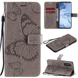 Embossing 3D Butterfly Leather Wallet Case for Oppo Find X2 Neo - Gray