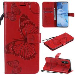Embossing 3D Butterfly Leather Wallet Case for Oppo Find X2 Neo - Red