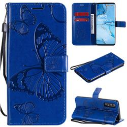 Embossing 3D Butterfly Leather Wallet Case for Oppo Find X2 Neo - Blue