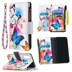 Vivid Flying Butterflies Binfen Color BF03 Retro Zipper Leather Wallet Phone Case for Oppo Find X2 Neo