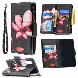 Lotus Flower Binfen Color BF03 Retro Zipper Leather Wallet Phone Case for Oppo Find X2 Neo