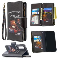 Chainsaw Bear Binfen Color BF03 Retro Zipper Leather Wallet Phone Case for Oppo Find X2 Neo