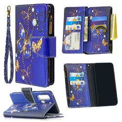 Purple Butterfly Binfen Color BF03 Retro Zipper Leather Wallet Phone Case for Oppo Find X2 Neo