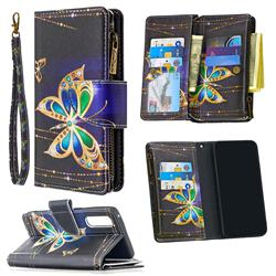 Golden Shining Butterfly Binfen Color BF03 Retro Zipper Leather Wallet Phone Case for Oppo Find X2 Neo