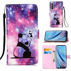 Panda Baby Matte Leather Wallet Phone Case for Oppo Find X2 Neo