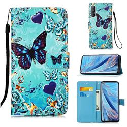 Love Butterfly Matte Leather Wallet Phone Case for Oppo Find X2 Neo
