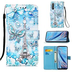 Tower Butterfly Matte Leather Wallet Phone Case for Oppo Find X2 Neo