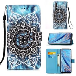 Underwater Mandala Matte Leather Wallet Phone Case for Oppo Find X2 Neo