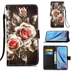 Black Rose Matte Leather Wallet Phone Case for Oppo Find X2 Neo