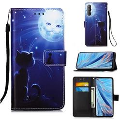 Cat and Moon Matte Leather Wallet Phone Case for Oppo Find X2 Neo